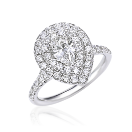 Pear Shaped Diamond Ring with Double Halo & Split Shank
