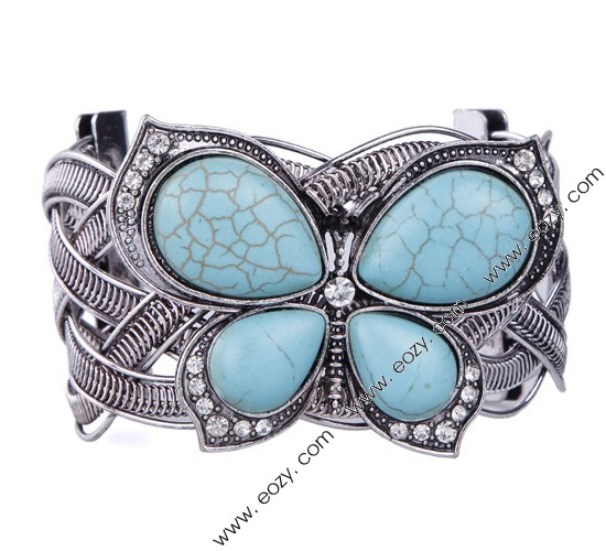 Vintage Tibet Silver Tone Hollow Turquoise Butterfly Bead Bangle Bracelet by Eozy