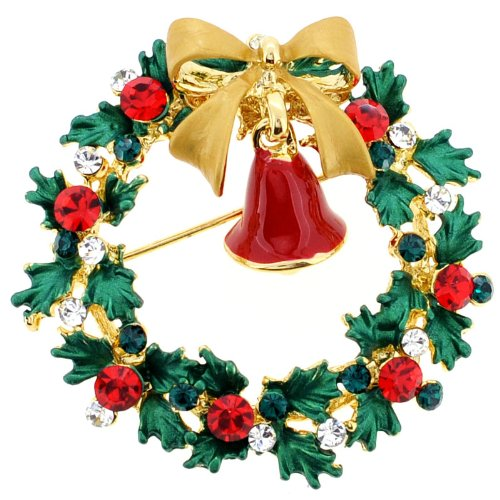 Christmas Bell Swarovski Crystal Pin Brooch