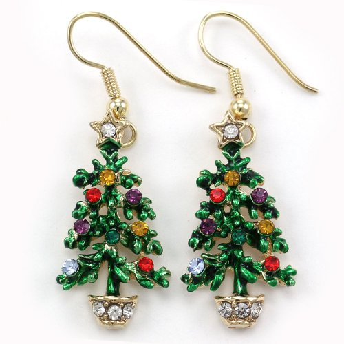 Happy Colorful Christmas Tree Hoop Dangle Earrings