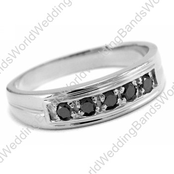 Black Diamond Men`s Wedding Band