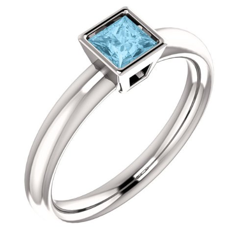 Platinum Aquamarine Ring