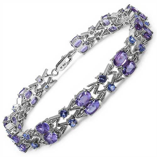 February Birthstone - Genuine Amethyst & Tanzanite Bracelet