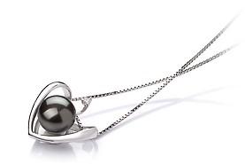Heart Pendant - Black AA 9-10mm Freshwater Pearl Pendant